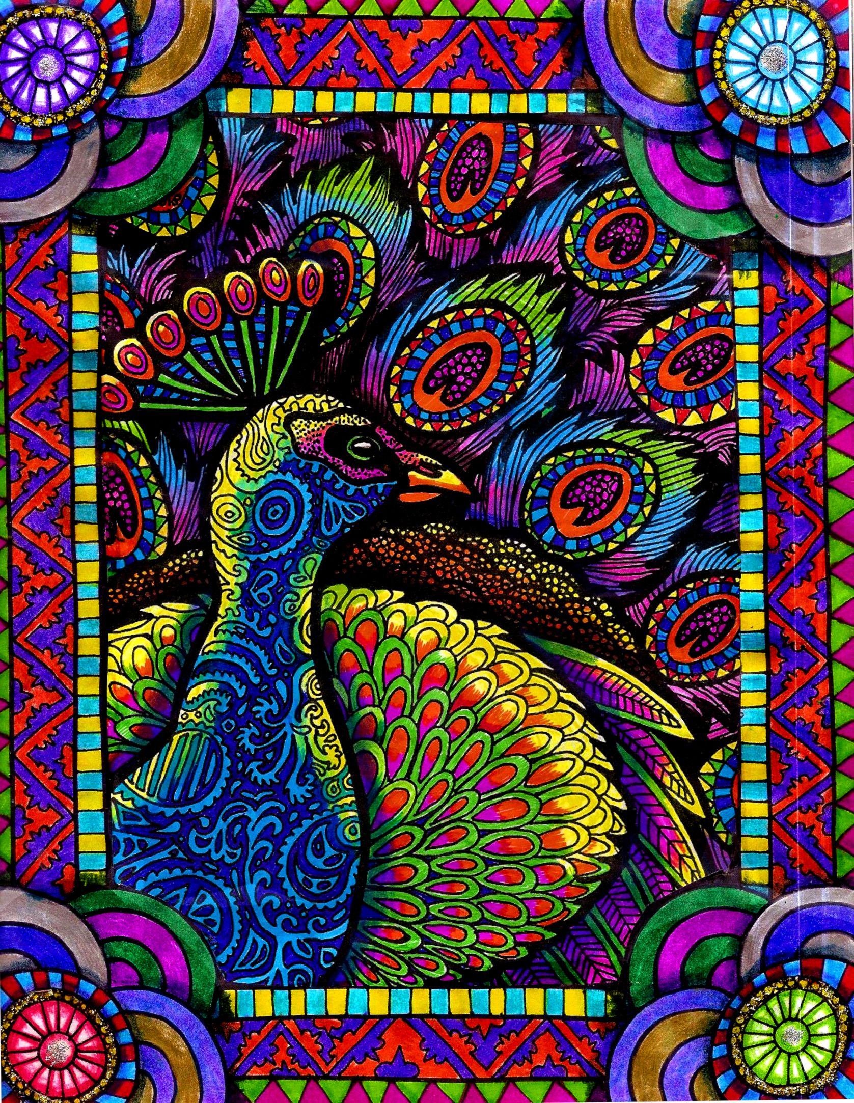 abstractart zentangle birdart hgcreativearts colorfulart drawing peacock