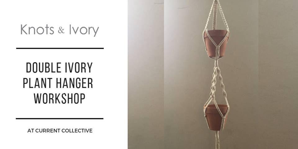 hanger plant macrame workshop ivory double