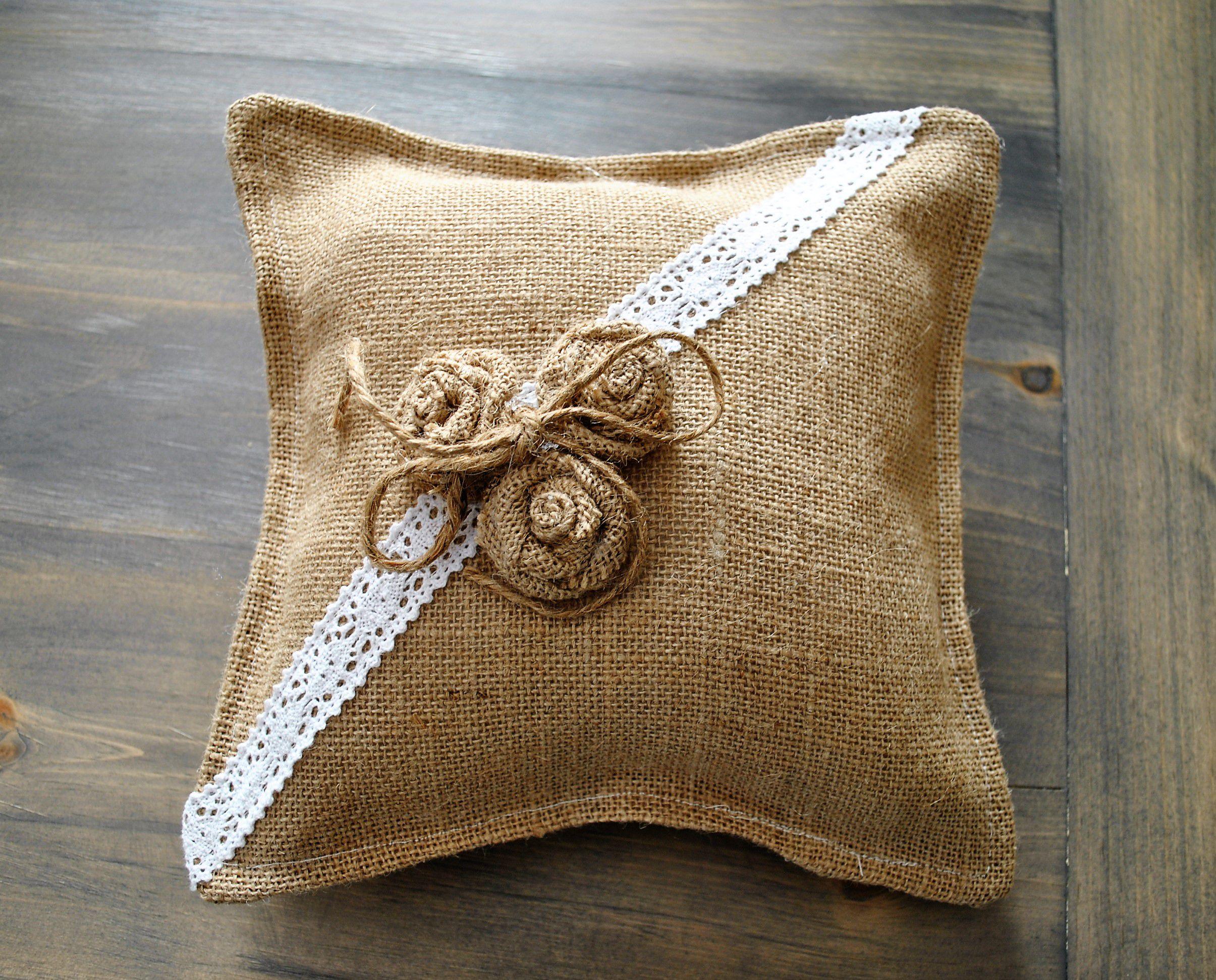rustic pillow bridal ring wedding burlap