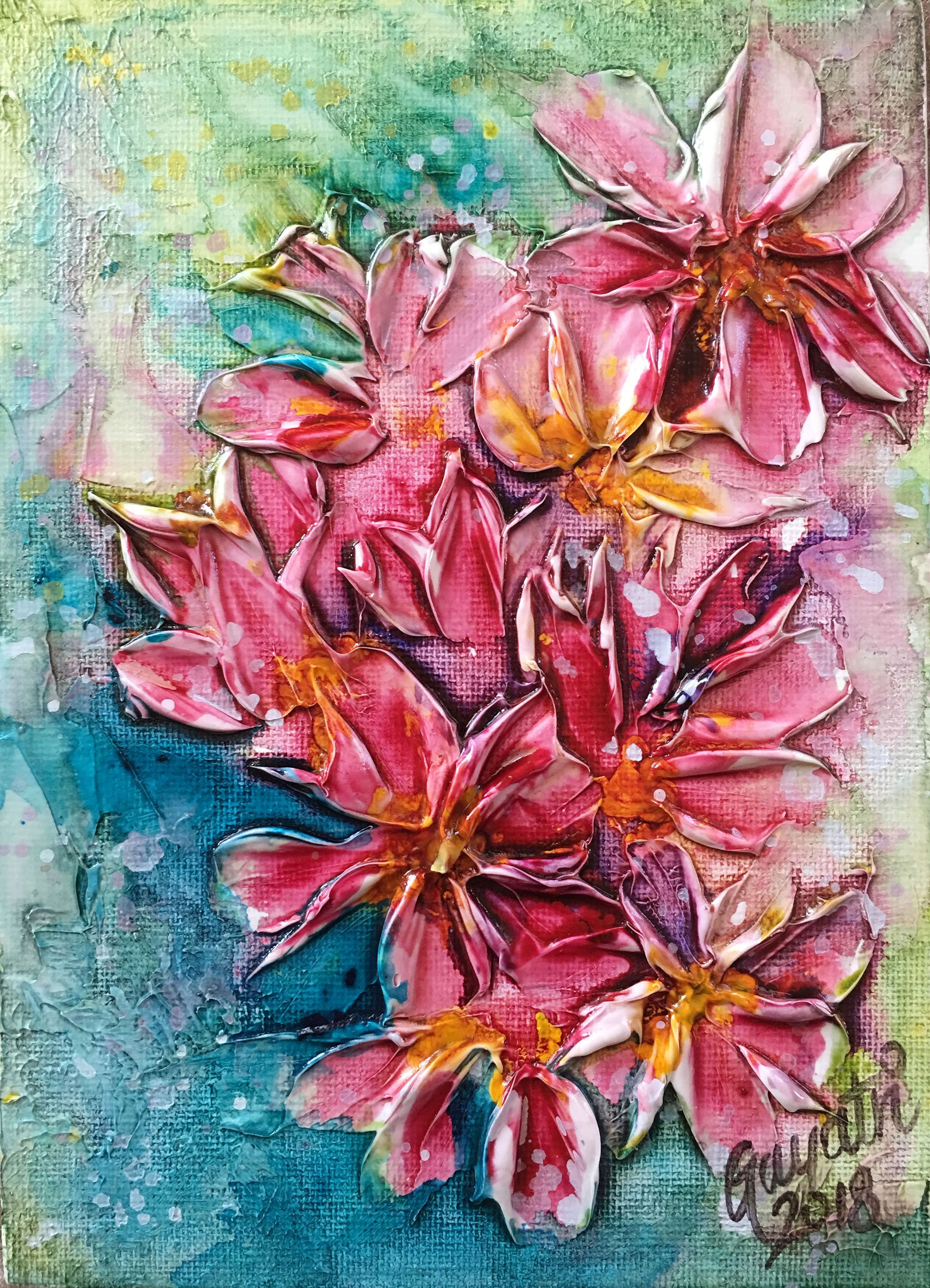 flowers acrylic bright original textured abstract 5x7