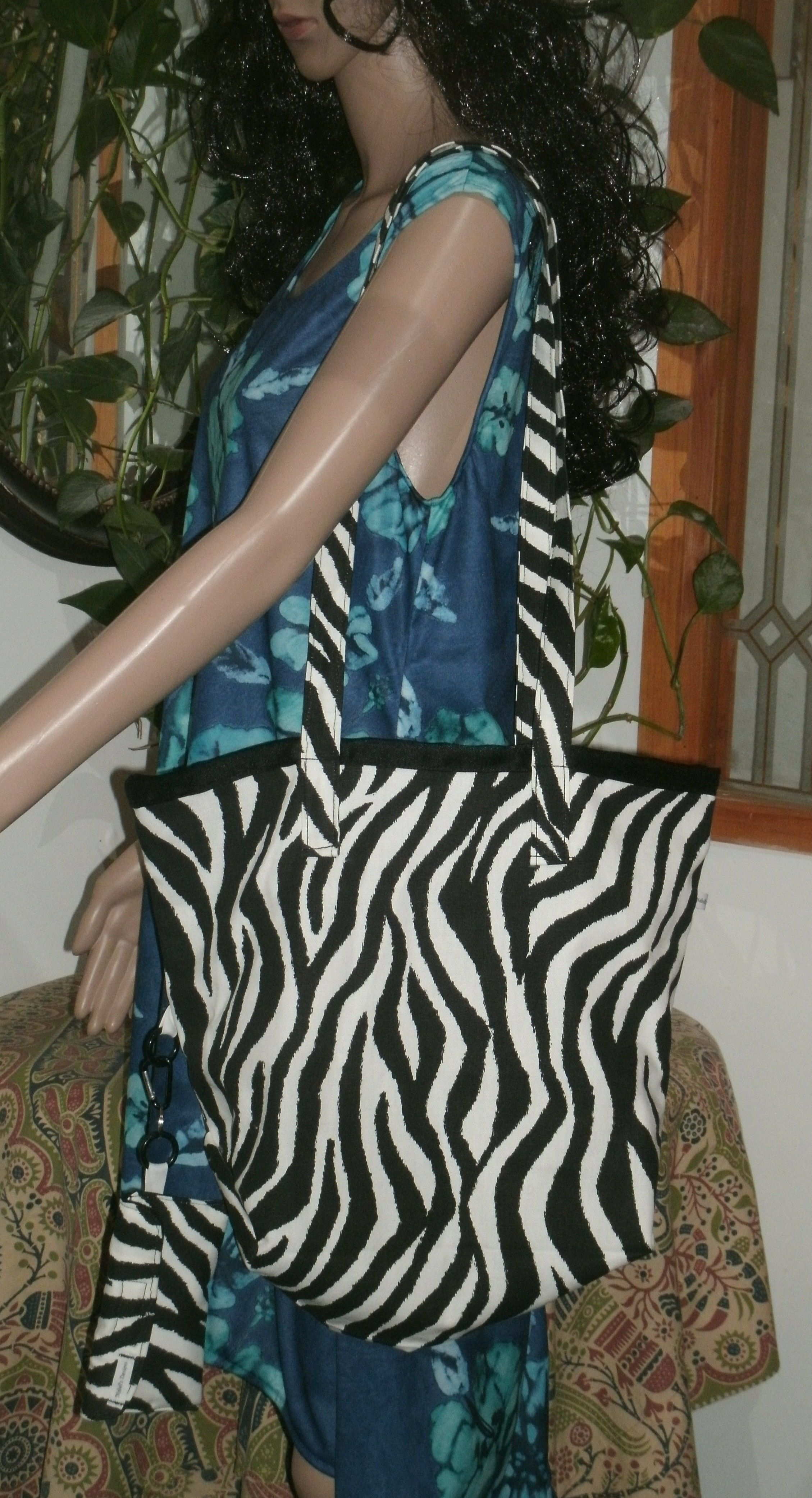 Striped upholstery fabric tote bag hand made new for the beach or shopping