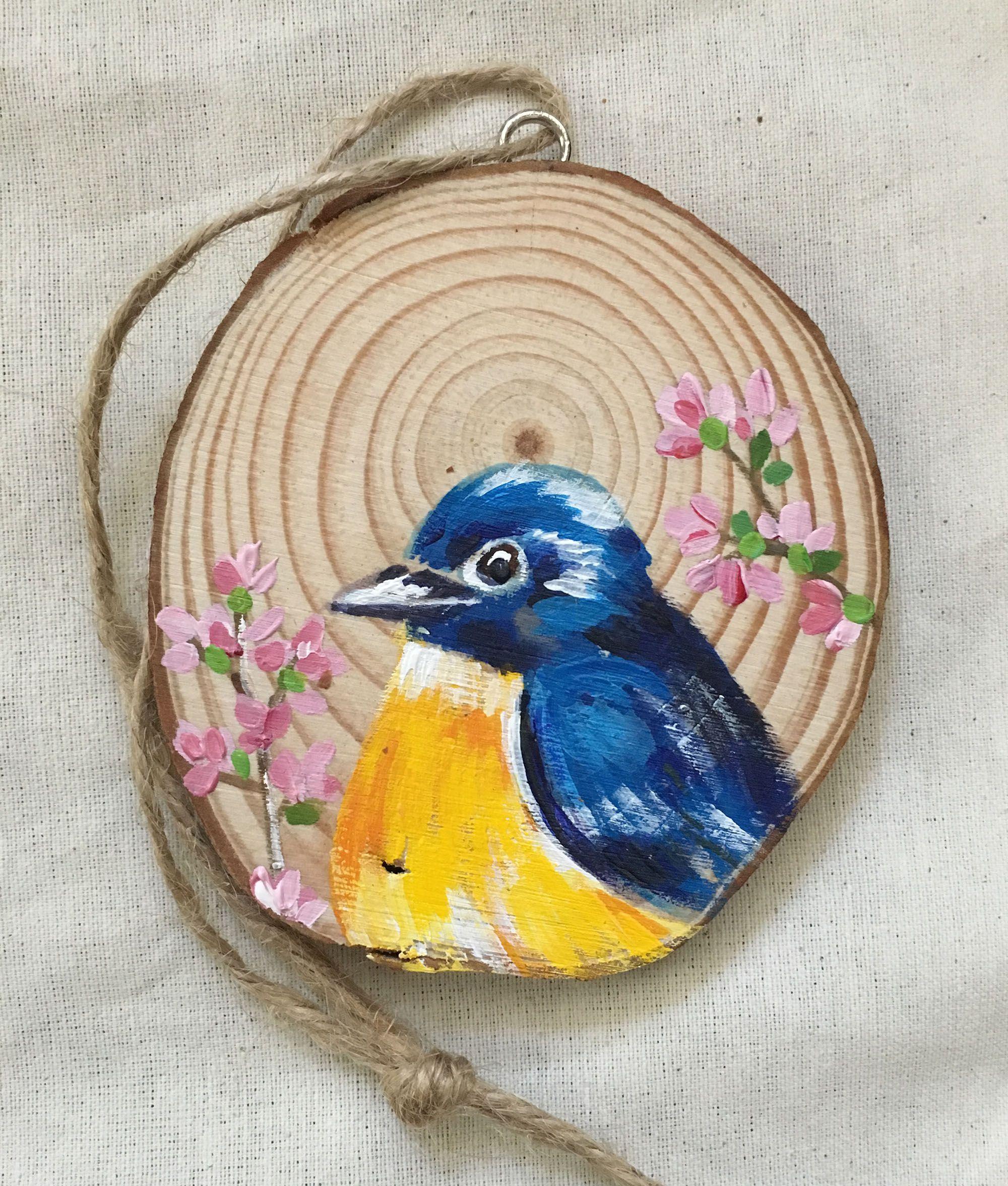 handmade ornaments present wood unique decor christmas blue bird ornament slice