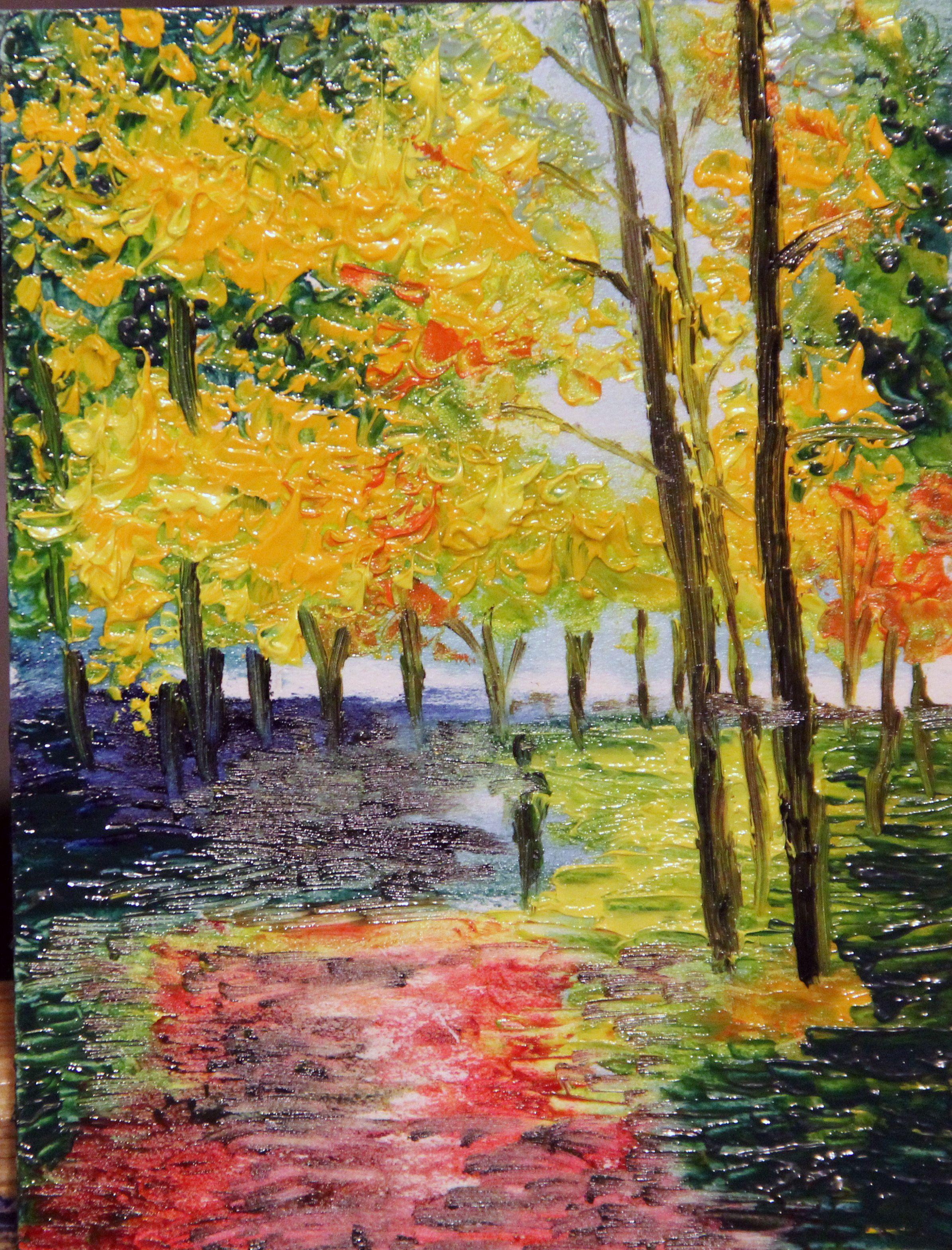 painting oil landscape rain park autumn