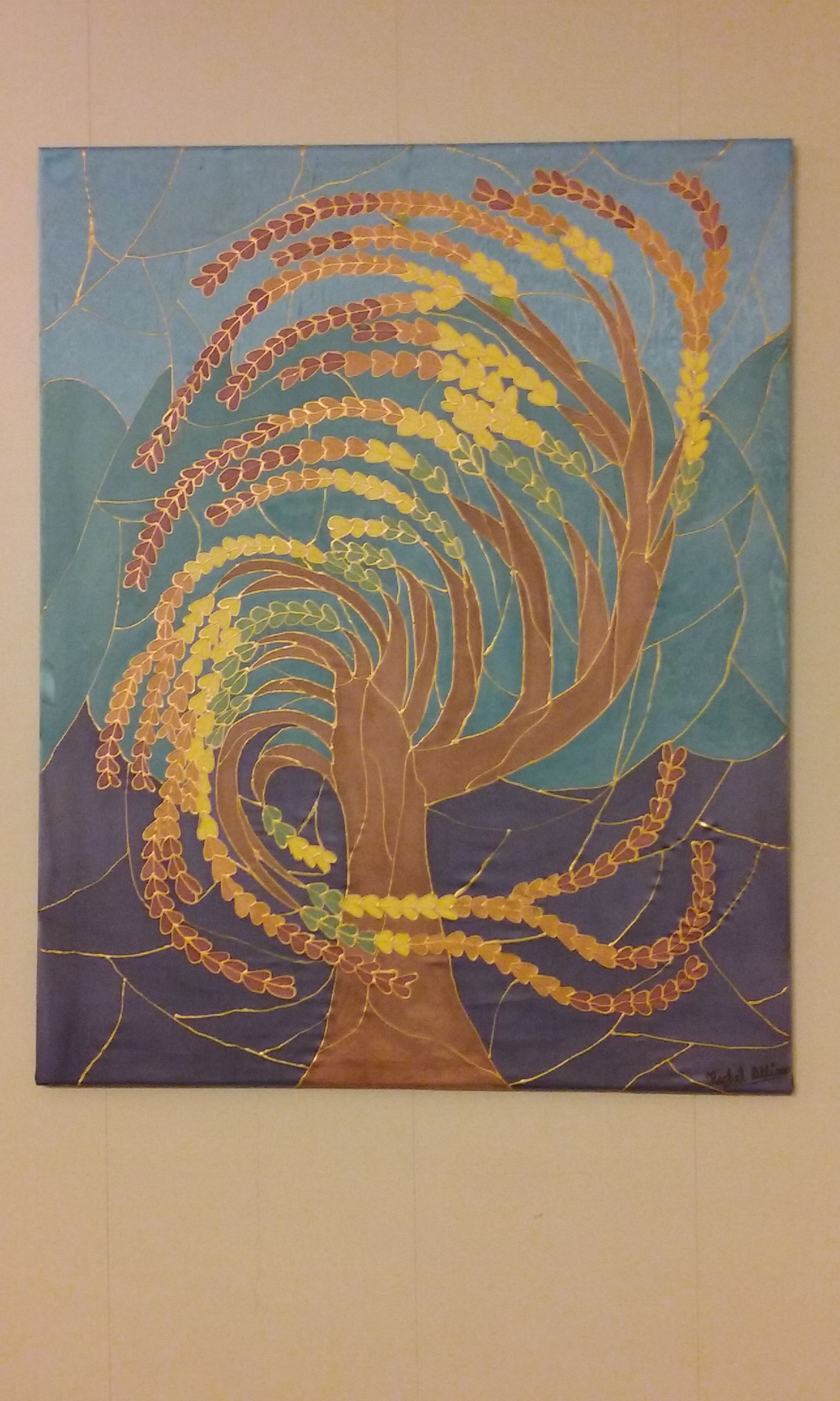 decor wall tree silk handmade painting