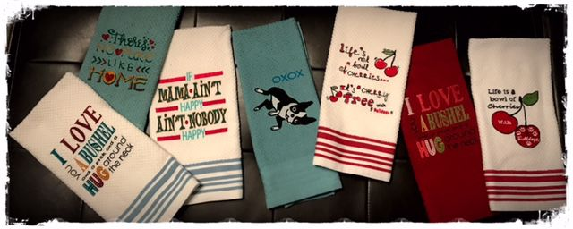 sayings kitchen bathroom handtowels towels embroidered quotes embroidary