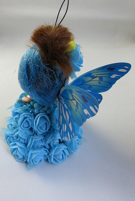 doll decor ornament gift angel butterfly christmas bell blue flowers