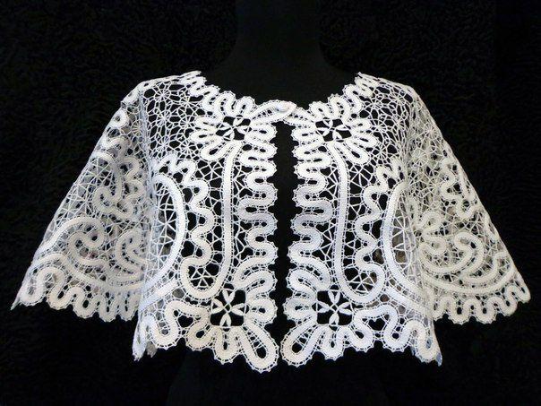 clothes jacket lace white bobbines knitting