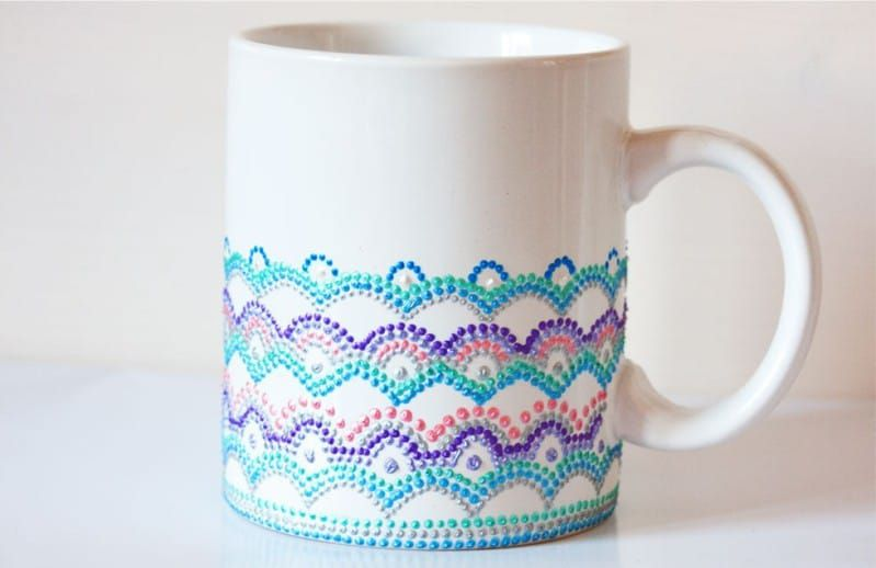 mug creativity decorateyourmug gift dots cupdecoration dotwork diy dotpainting cup idea creativeidea handmade