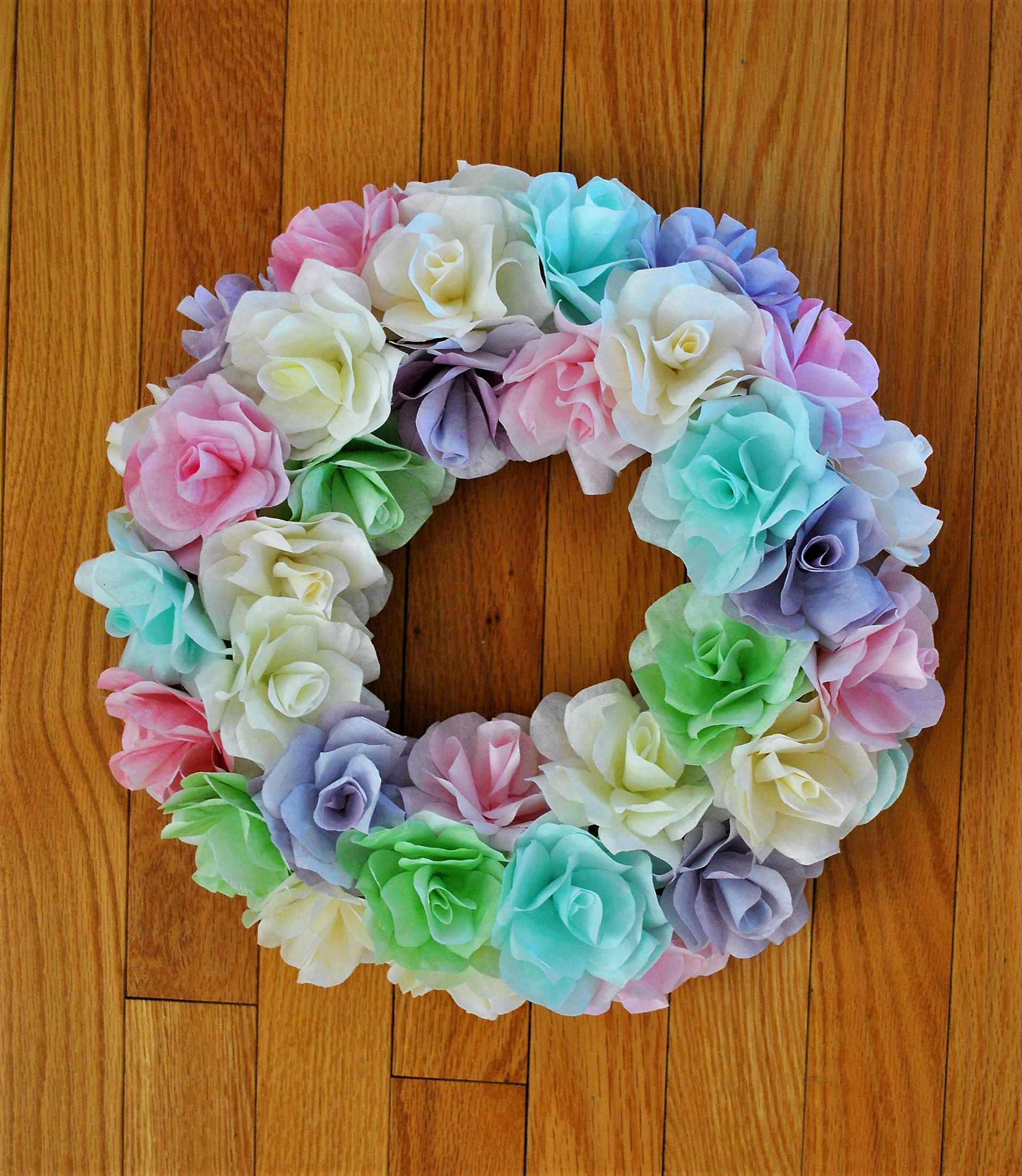 wreath pretty coffeefilters paperflowers pastel