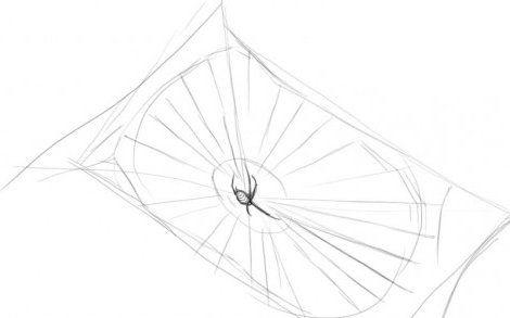 spider web draw pencil art