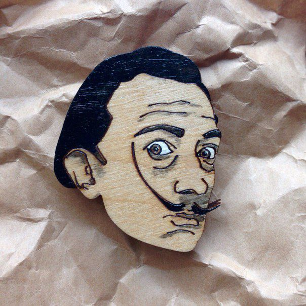 fashionwood brooch pin wooden salvador dali