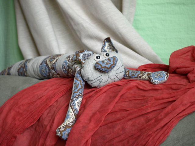 cat interior textile pillow