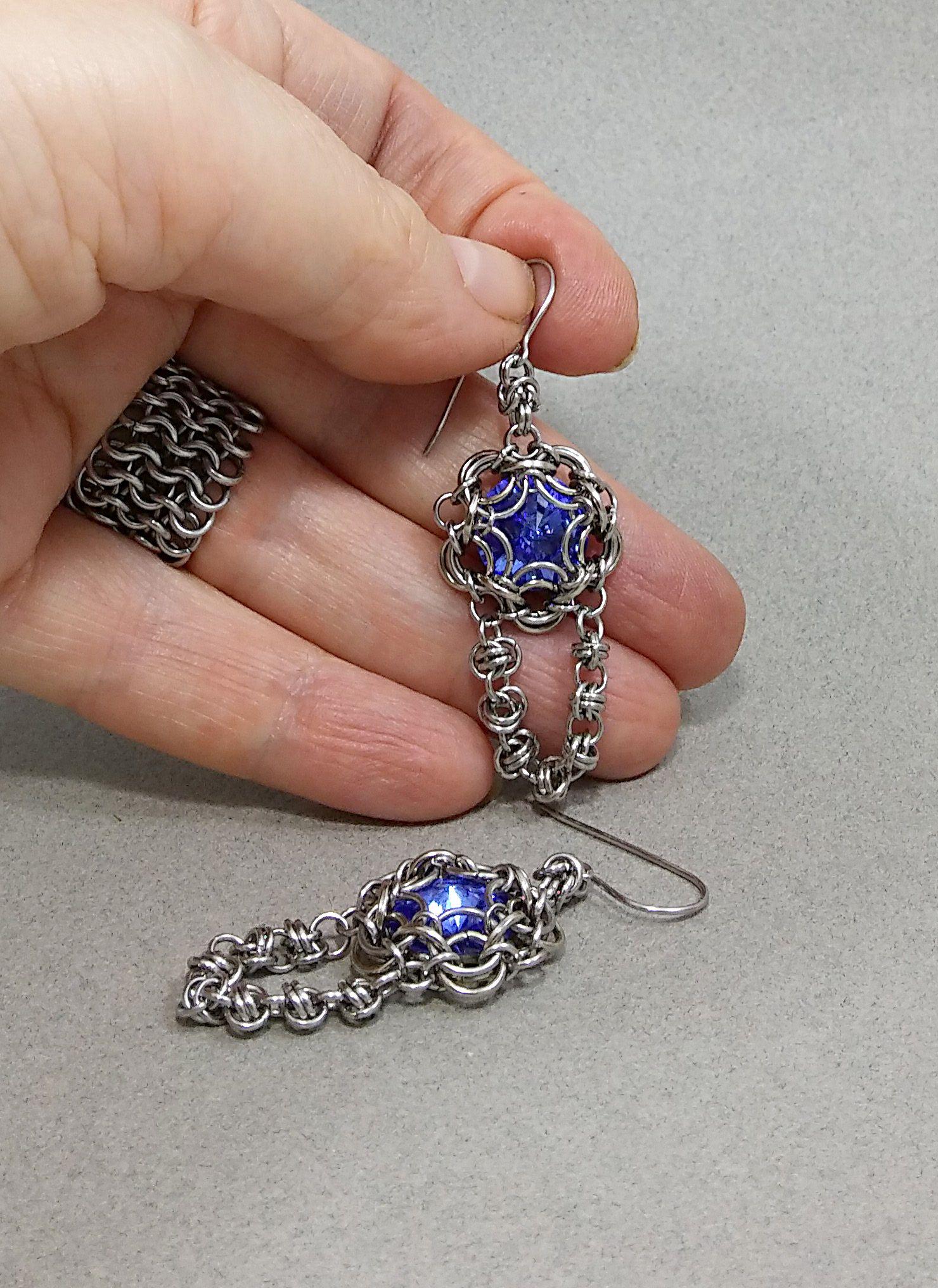 swarovski crystal earrings chain blue rivoli mail sapphire stone