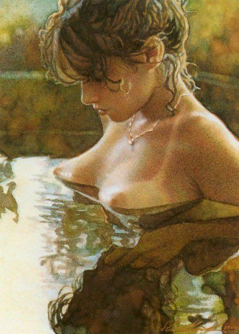 girl home modern erotic painting art