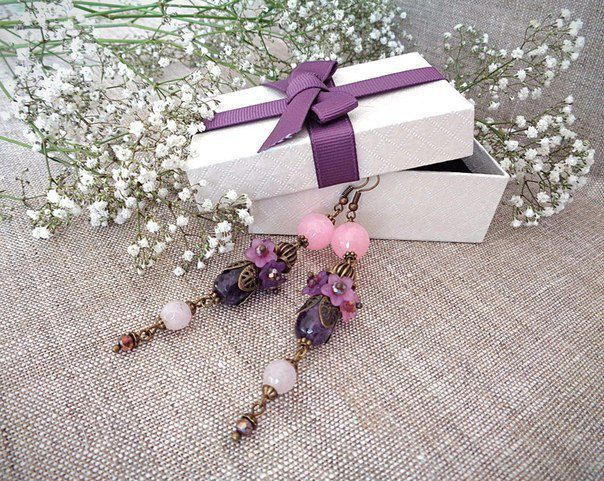 lucite present quartz zircon earrings amethyst jewelry rose