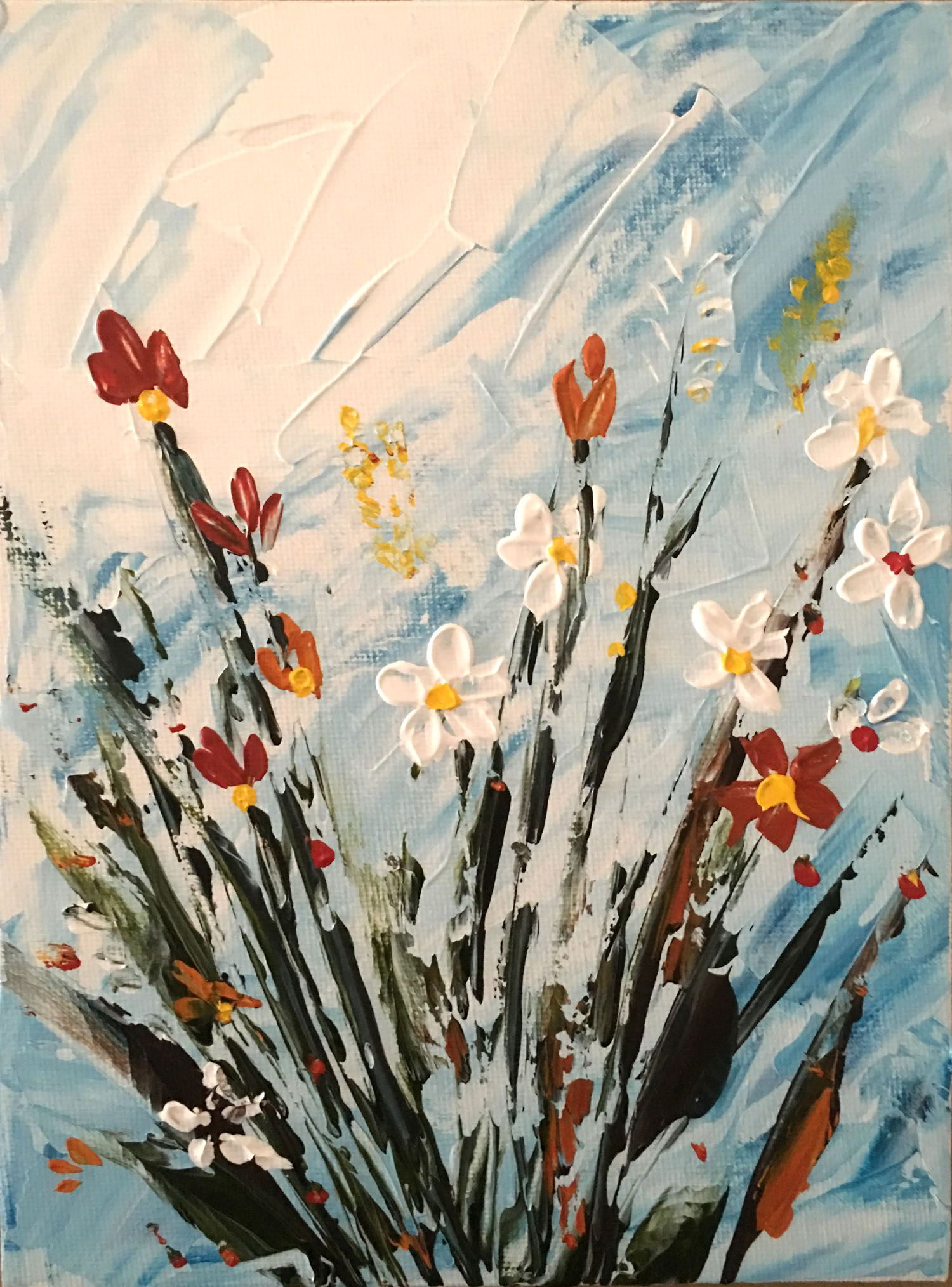 original paintings flowers textured gift abstract vase small flower painting art