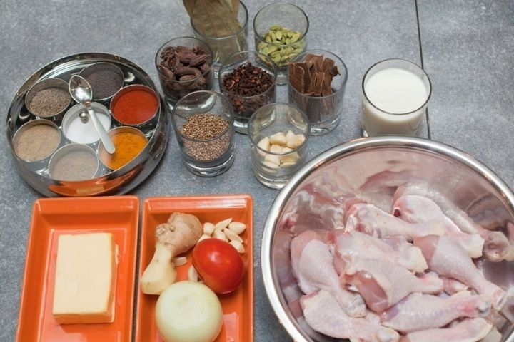 process cookery curry cook chicken ingredients