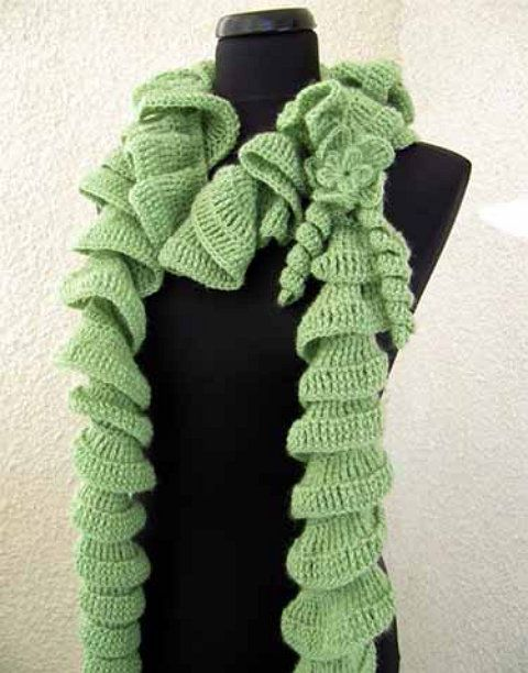 ruffle textile crochet scarf goods