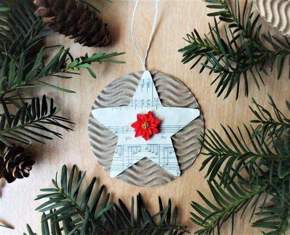 rustic star sheet decor traditional farmhouse glam tree music shabby christmas chic ornaments country