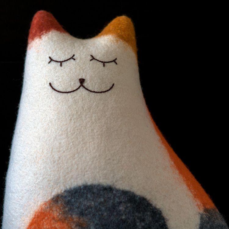 felt cat interior threecoloured bedroom cushion