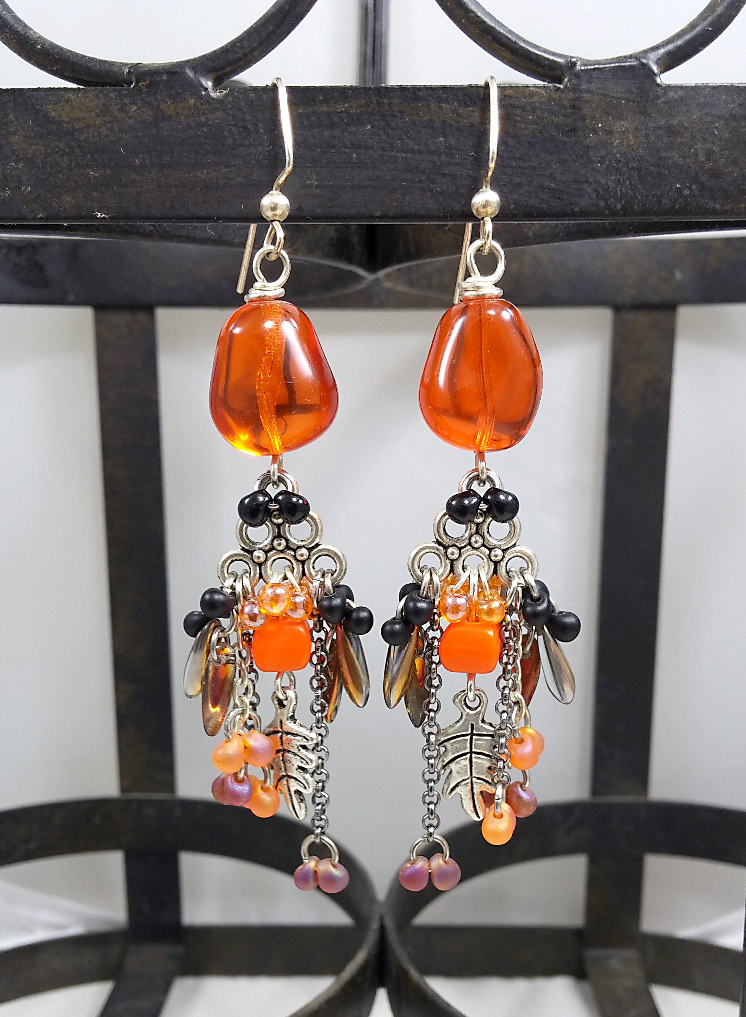 earrings thanksgiving autumn atumncolors harvest uniquejewelry orange jewelry beaded