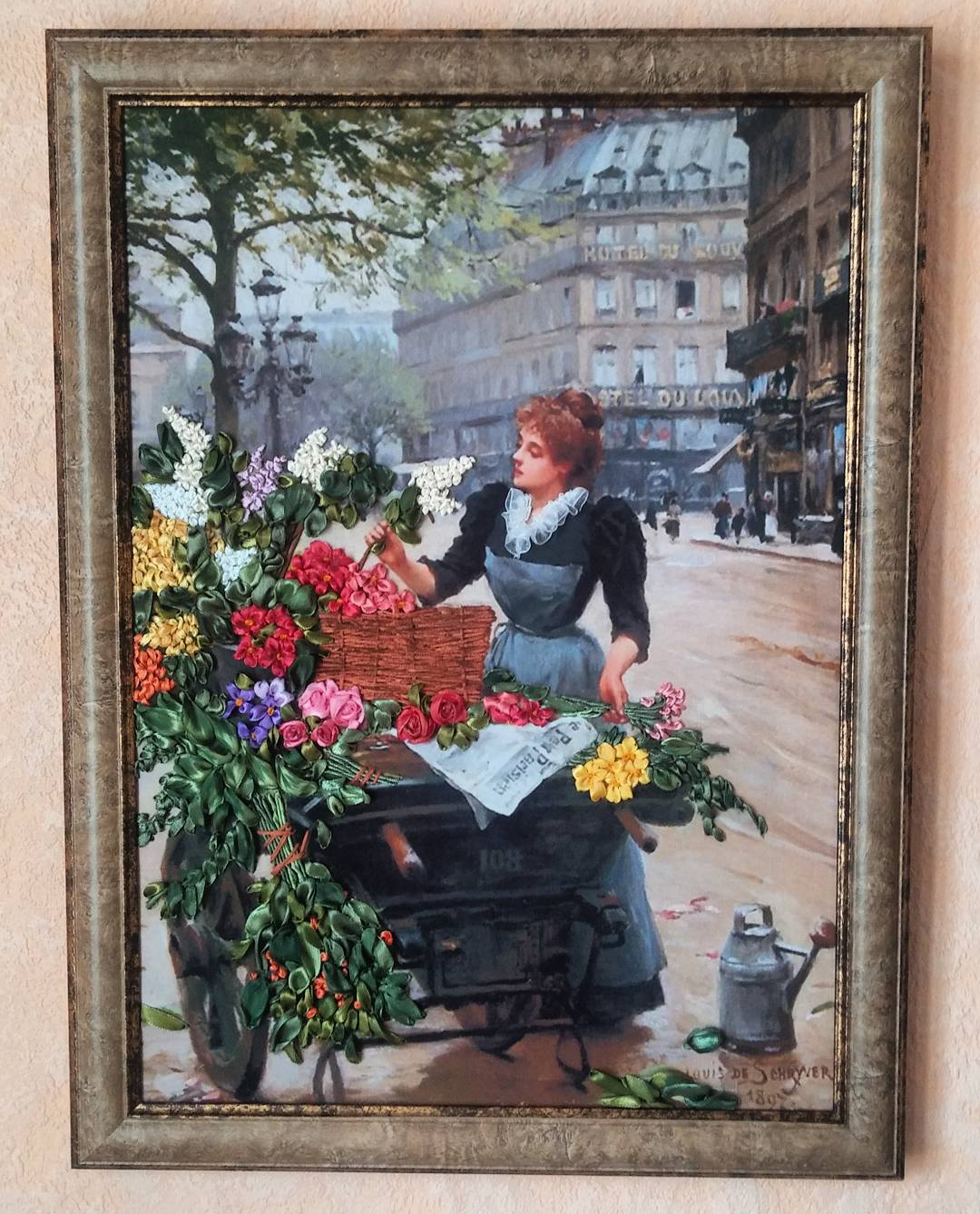 art flowers painting silk interior picture