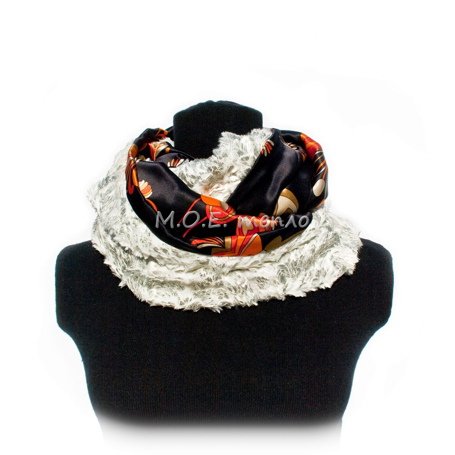 scarf accessories white clothes silk neckwarmer fur