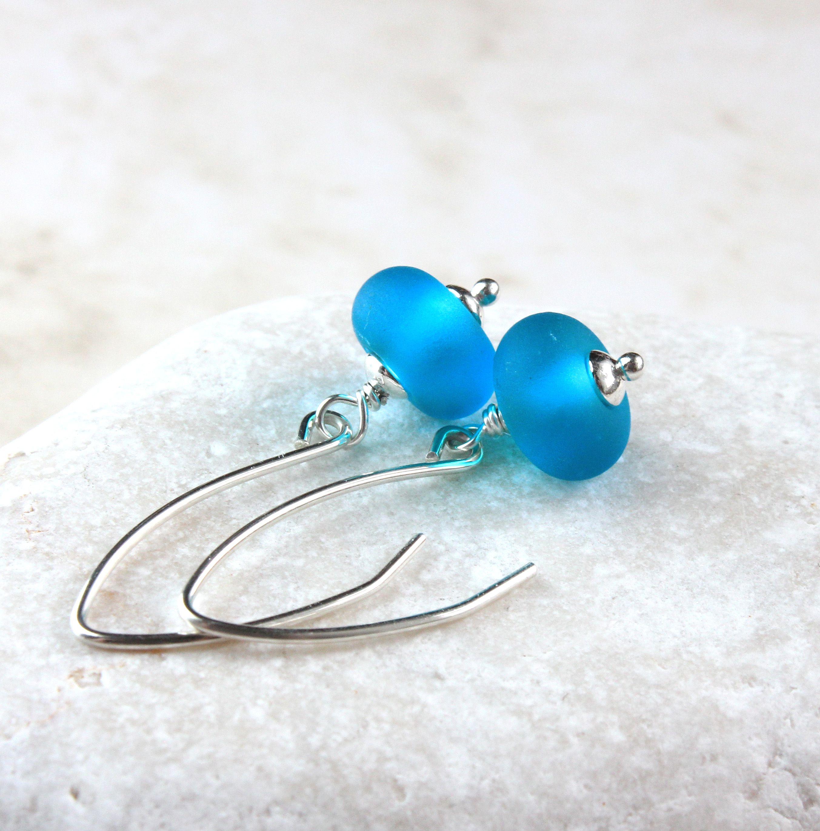 sterlingsilver glassearrings blueearrings