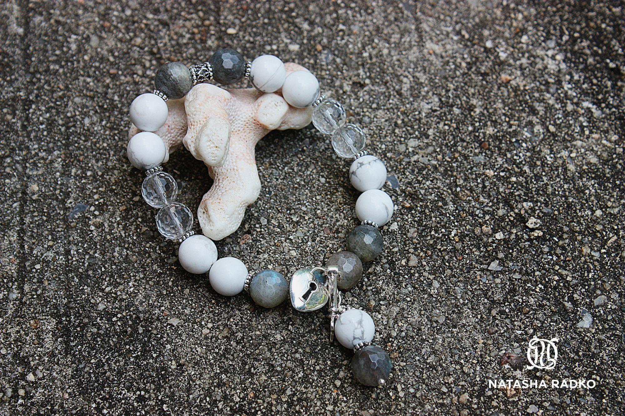 rock cacholong present crystal wristlet jewelry labradorite