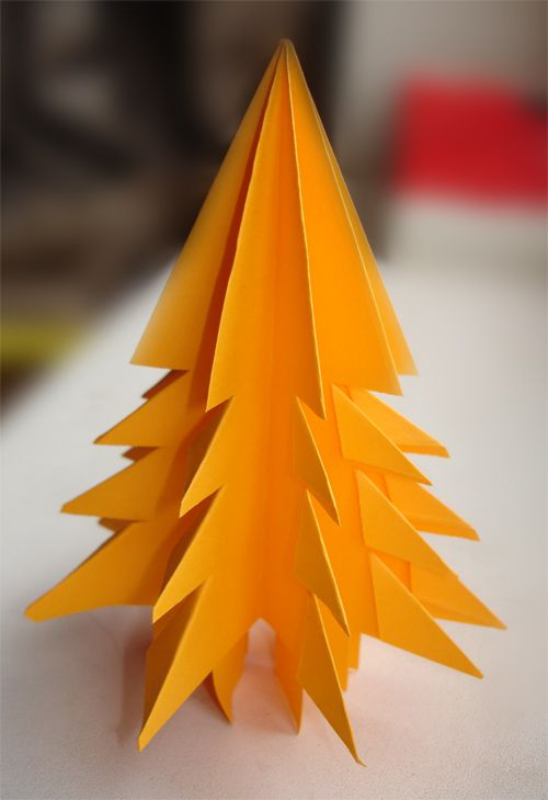 tree bend christmas origami paper