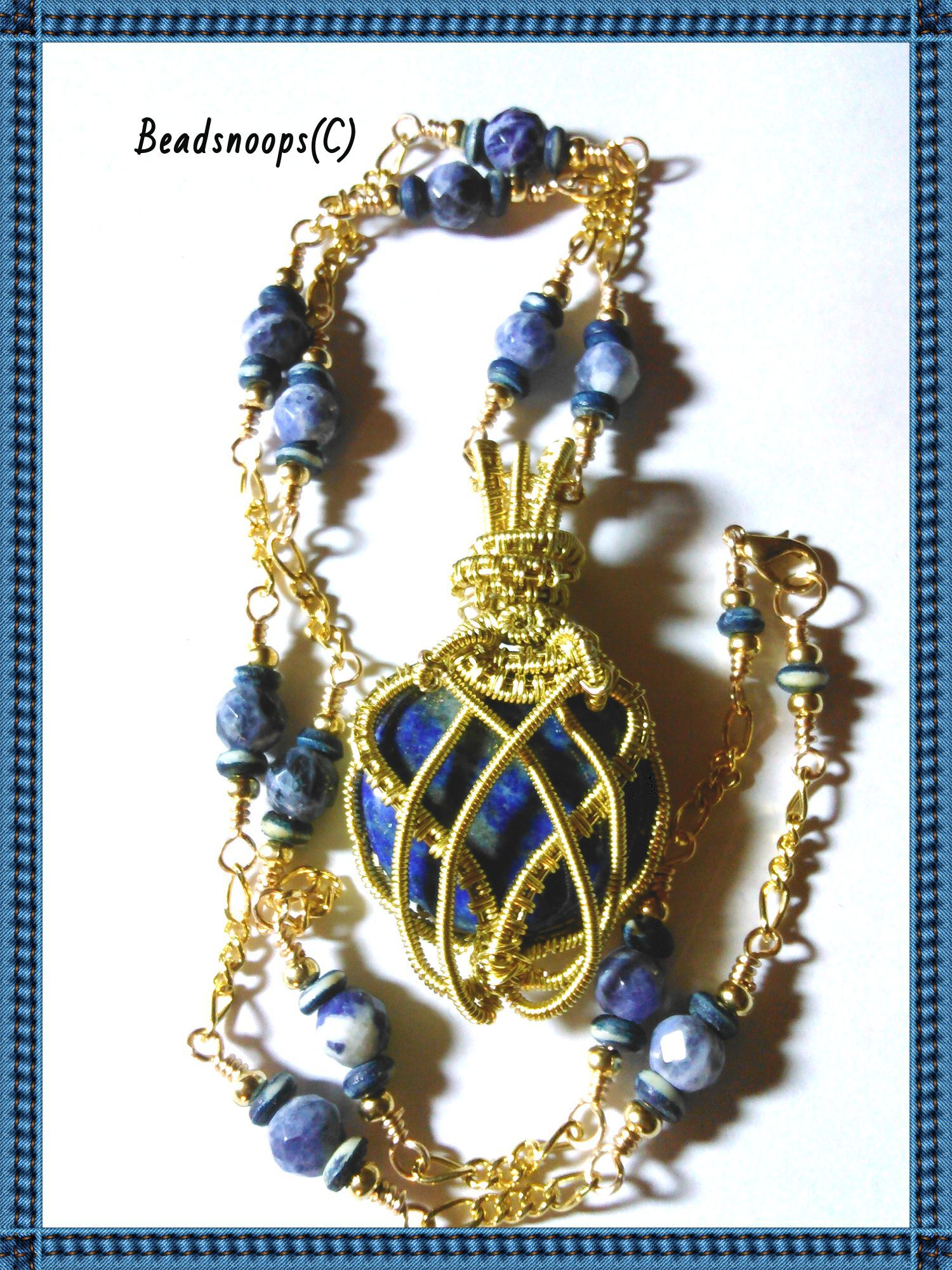 pendant unique necklace handcrafted gemstone beadsnoops sodalite oneofakind wirewrapwire