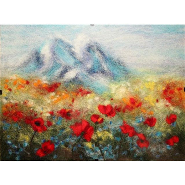 wool mountains painting watercolor
