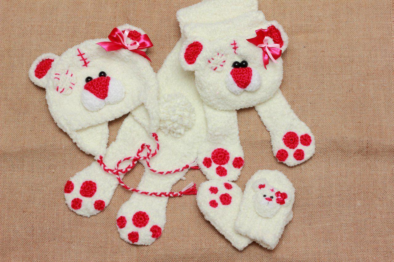set hat children plush bears