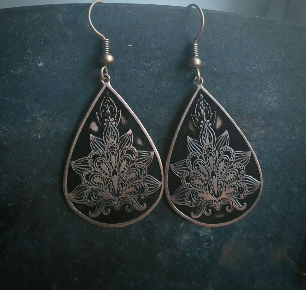 copper engraved gift lotus earrings antiquated