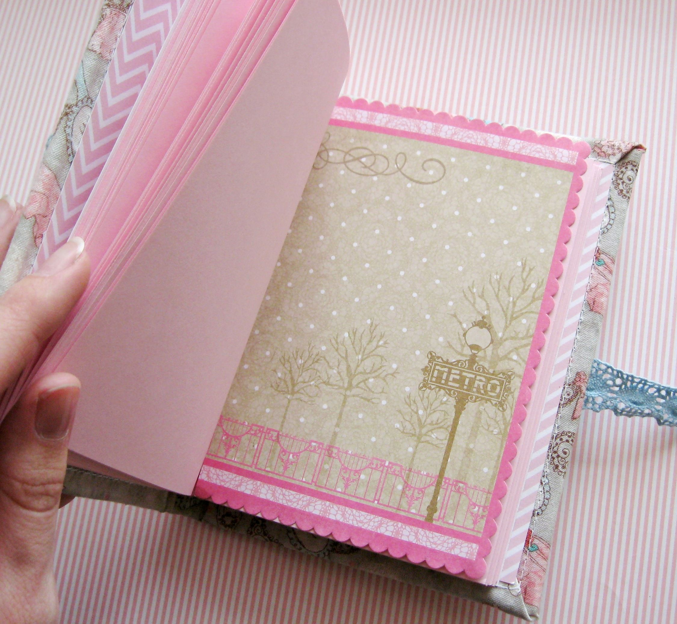 notebook paper diary white pink