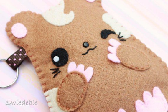 felt pouch cute purse hamster pet handmade animal kawaii japanese
