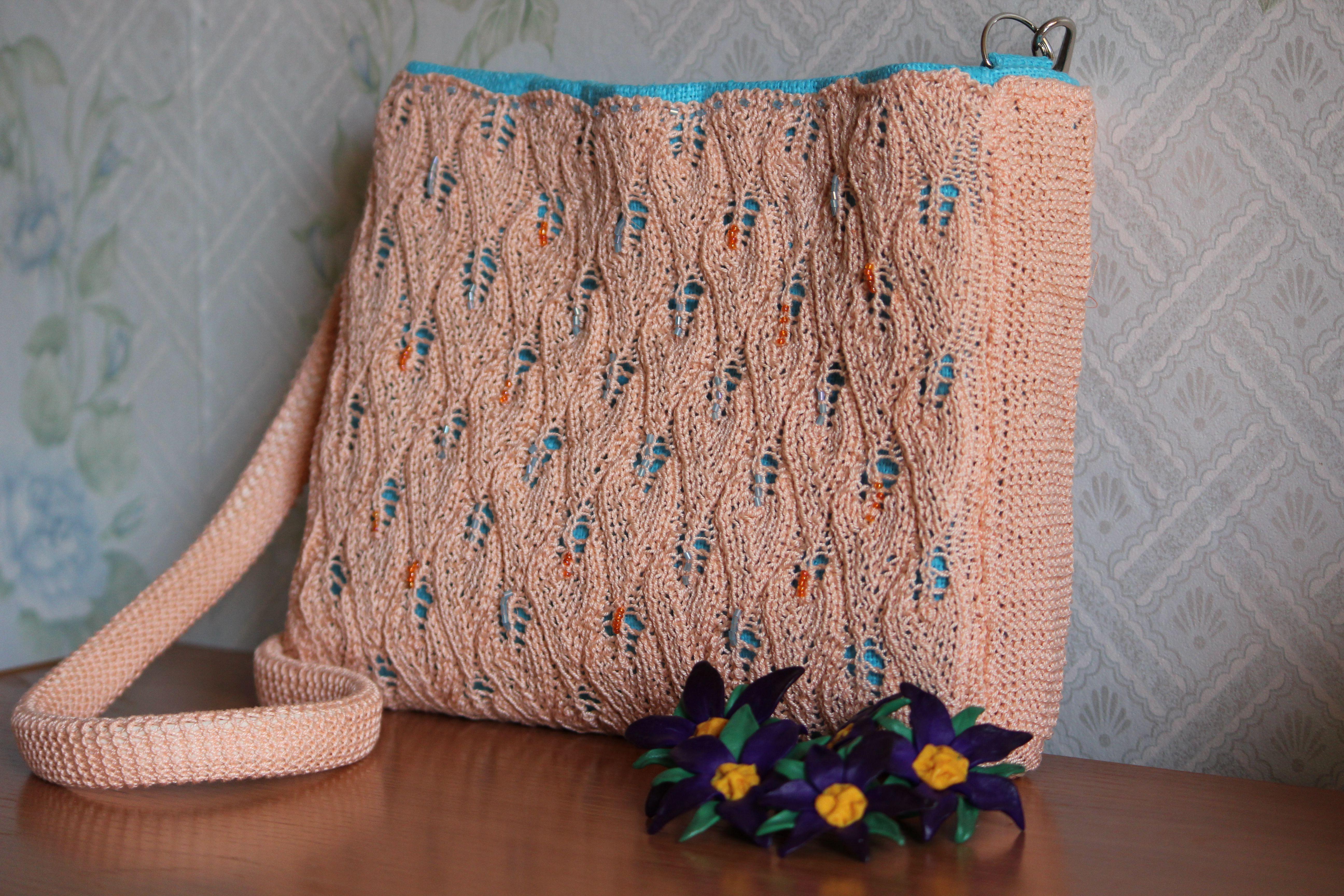 bag knitting handmade summer beige