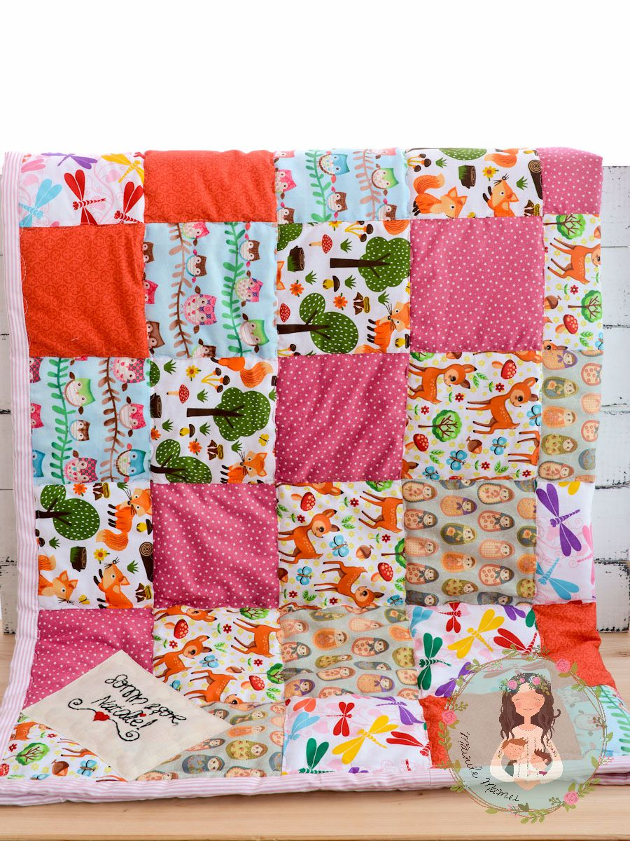 woodland baby crib gift personalized patchwork custom newborn foxes blanket owls shower quilt
