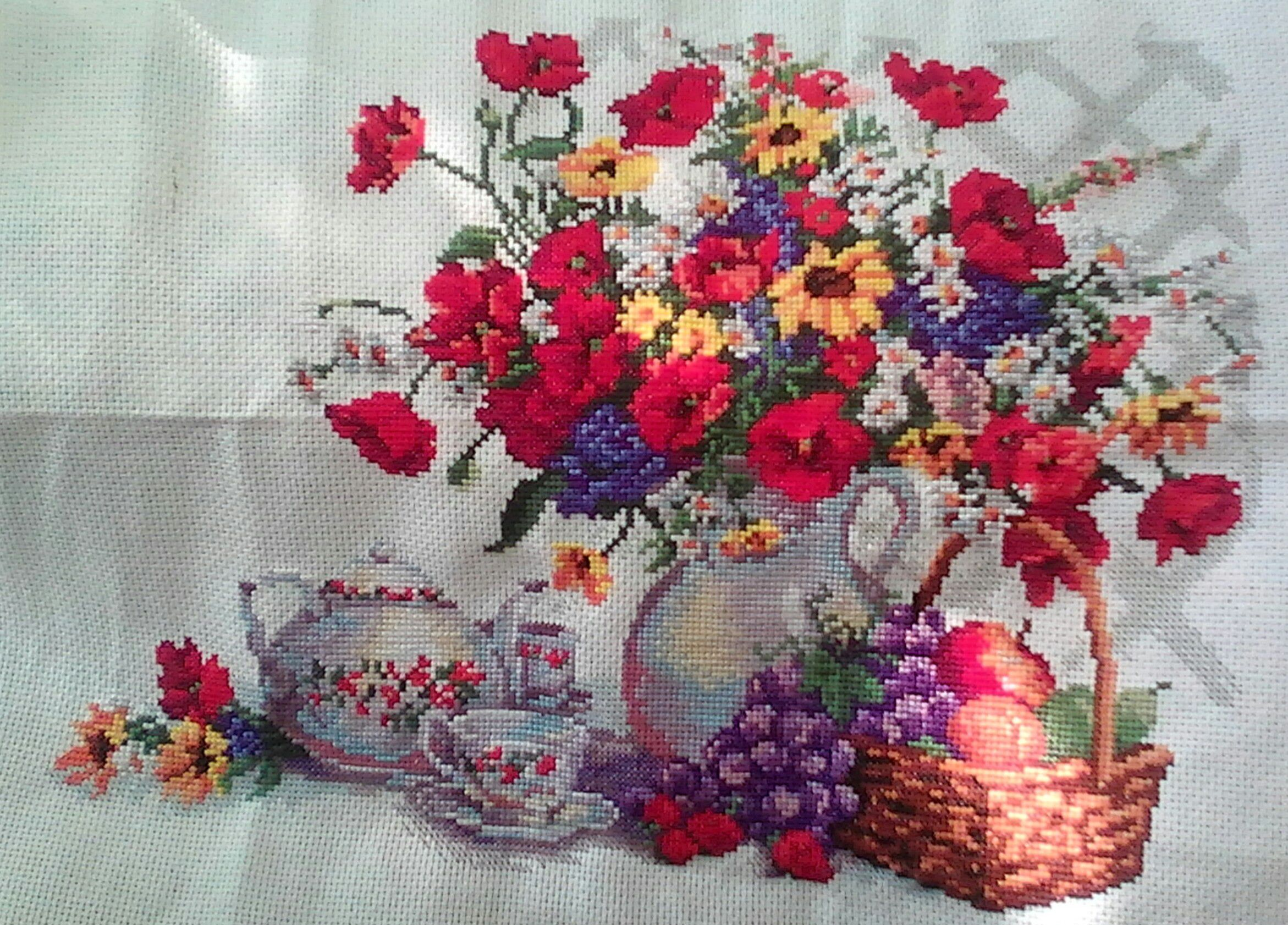 art flowers painting tea embroidery fruits