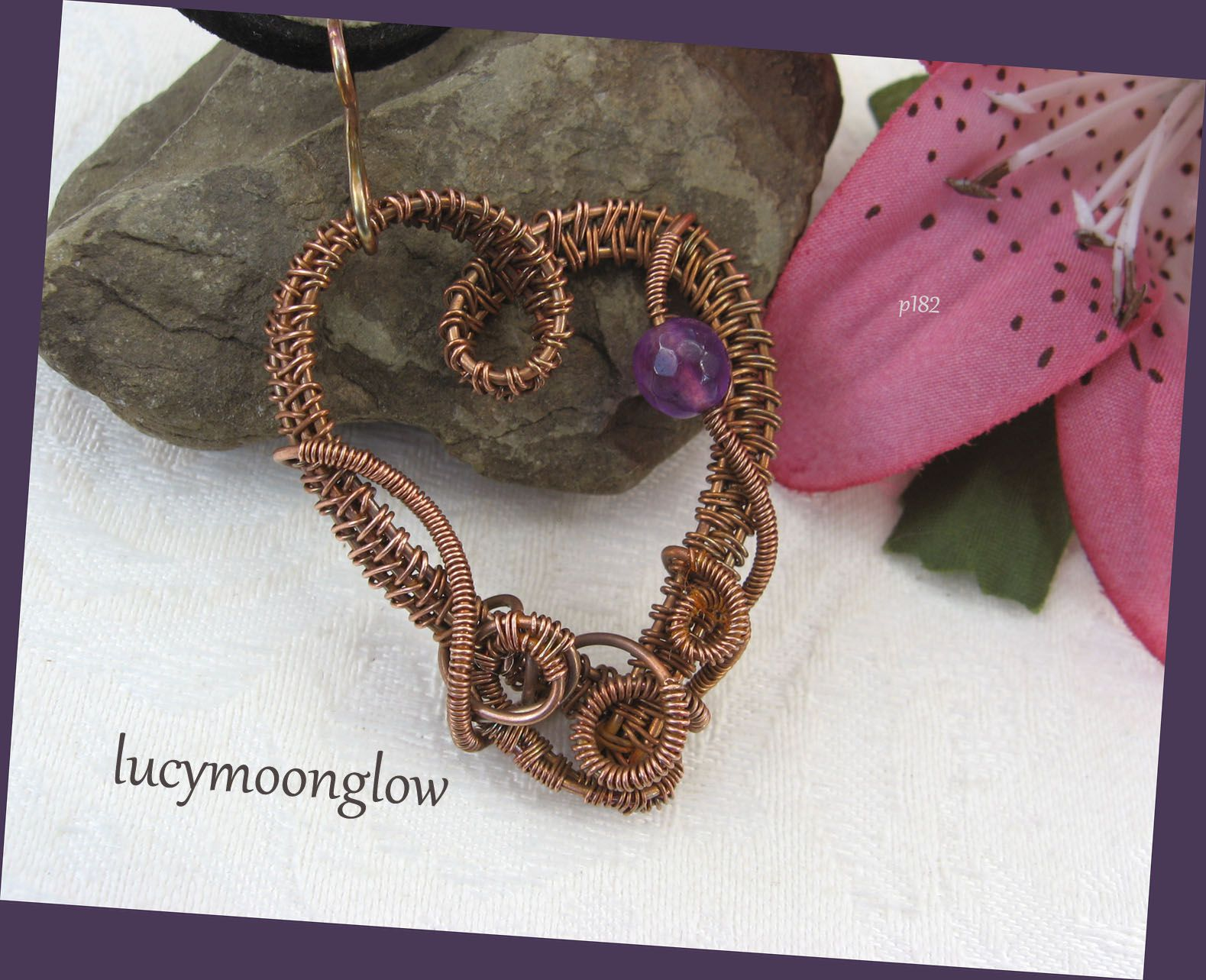 lucymoonglow wireweave wirewoven woven gemstone pendant handmade jade purple copper gift necklace jewelry wire heart handcrafted