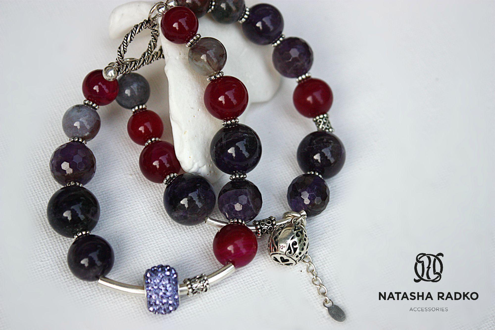 wristlet present silver agate amethyst jewelry