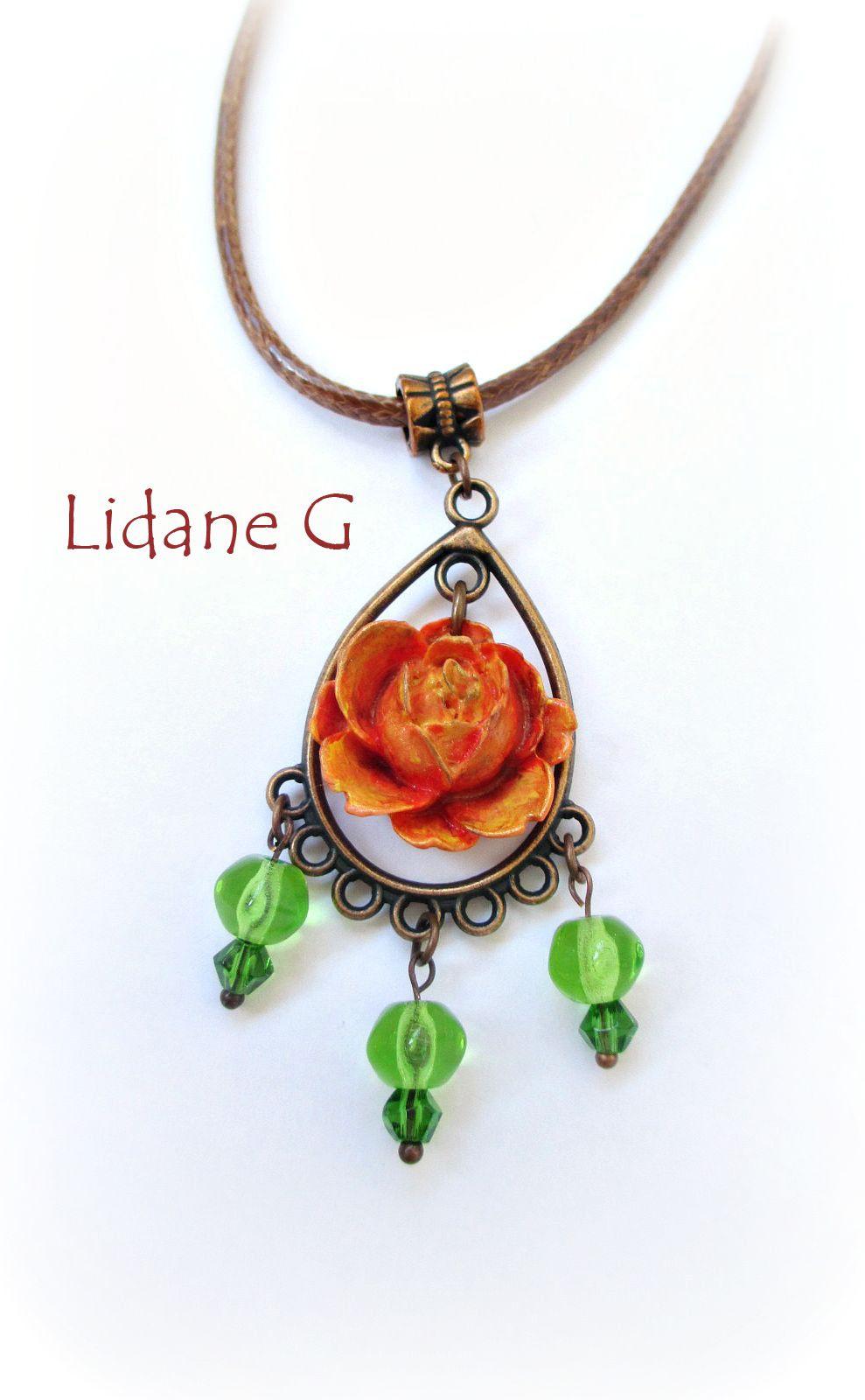 copper pendant vintage jewelry rose