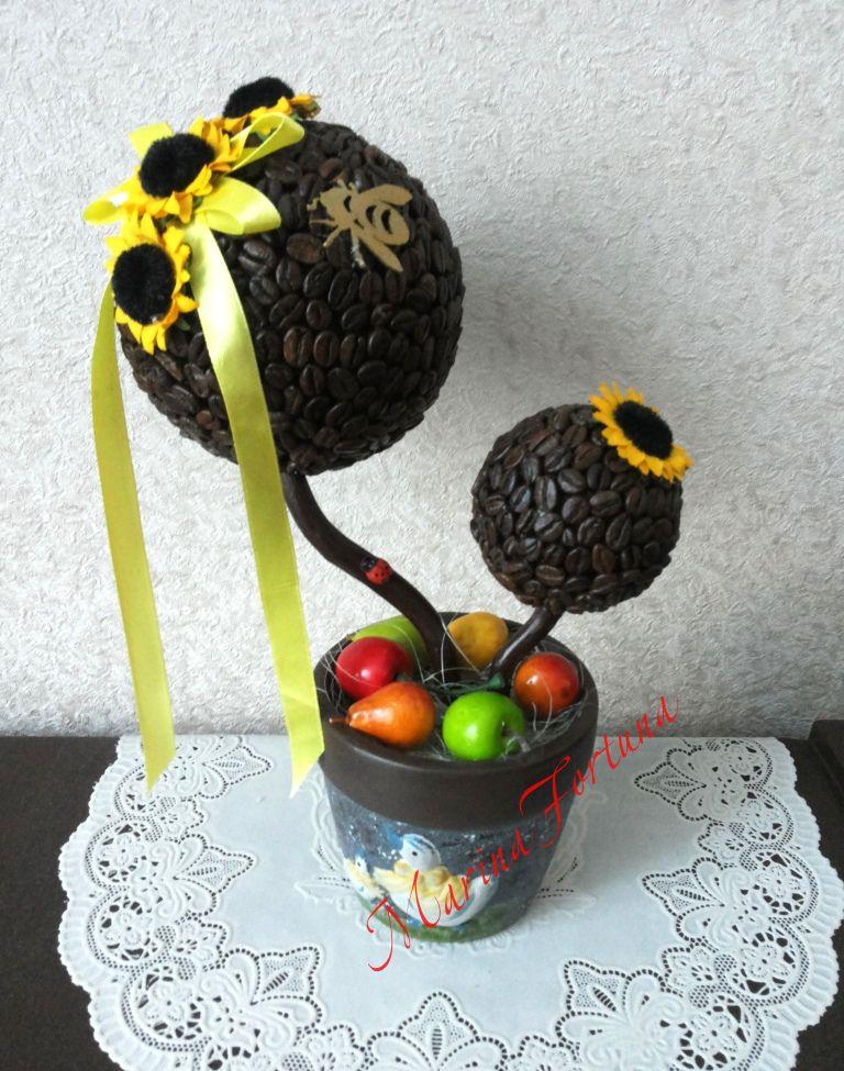 gift present handmade wood topiary