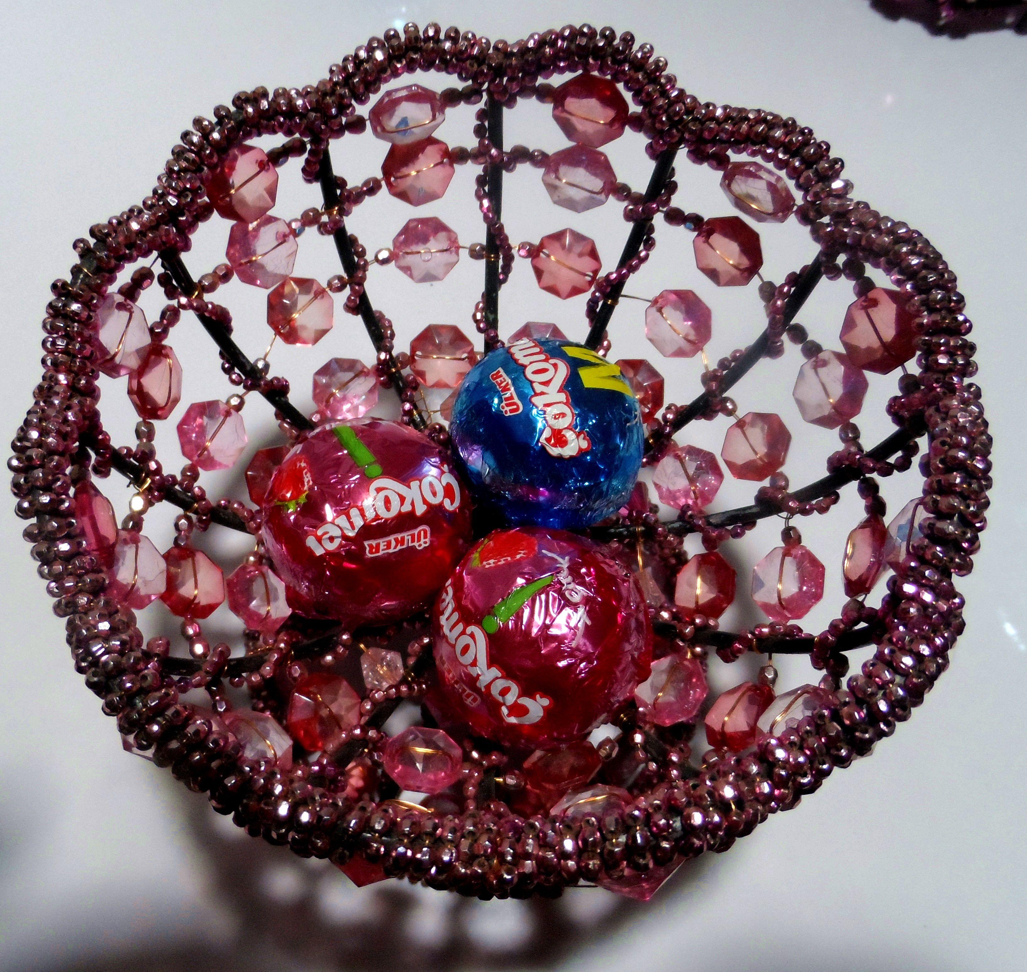 beaded pink sugar bowl footed