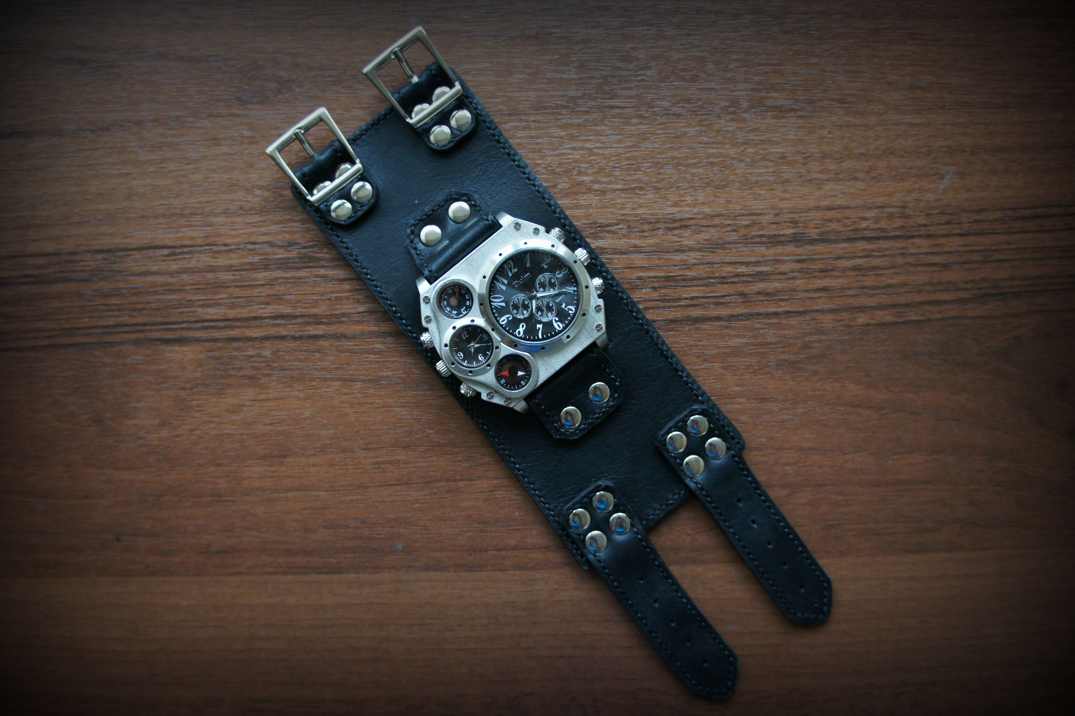 accessories leather black style watch men
