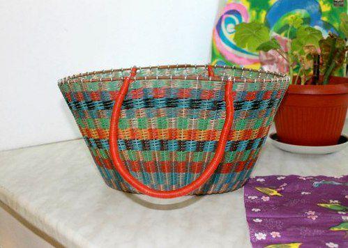 colorful wicker vintage basket retro