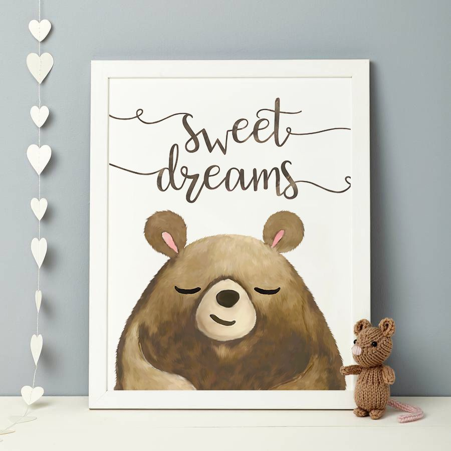 woodland brown decor wall dreams nursery sweet bear art