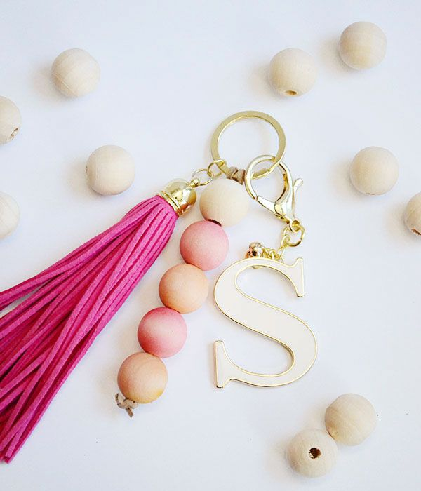 cute wooden keychain pink diy