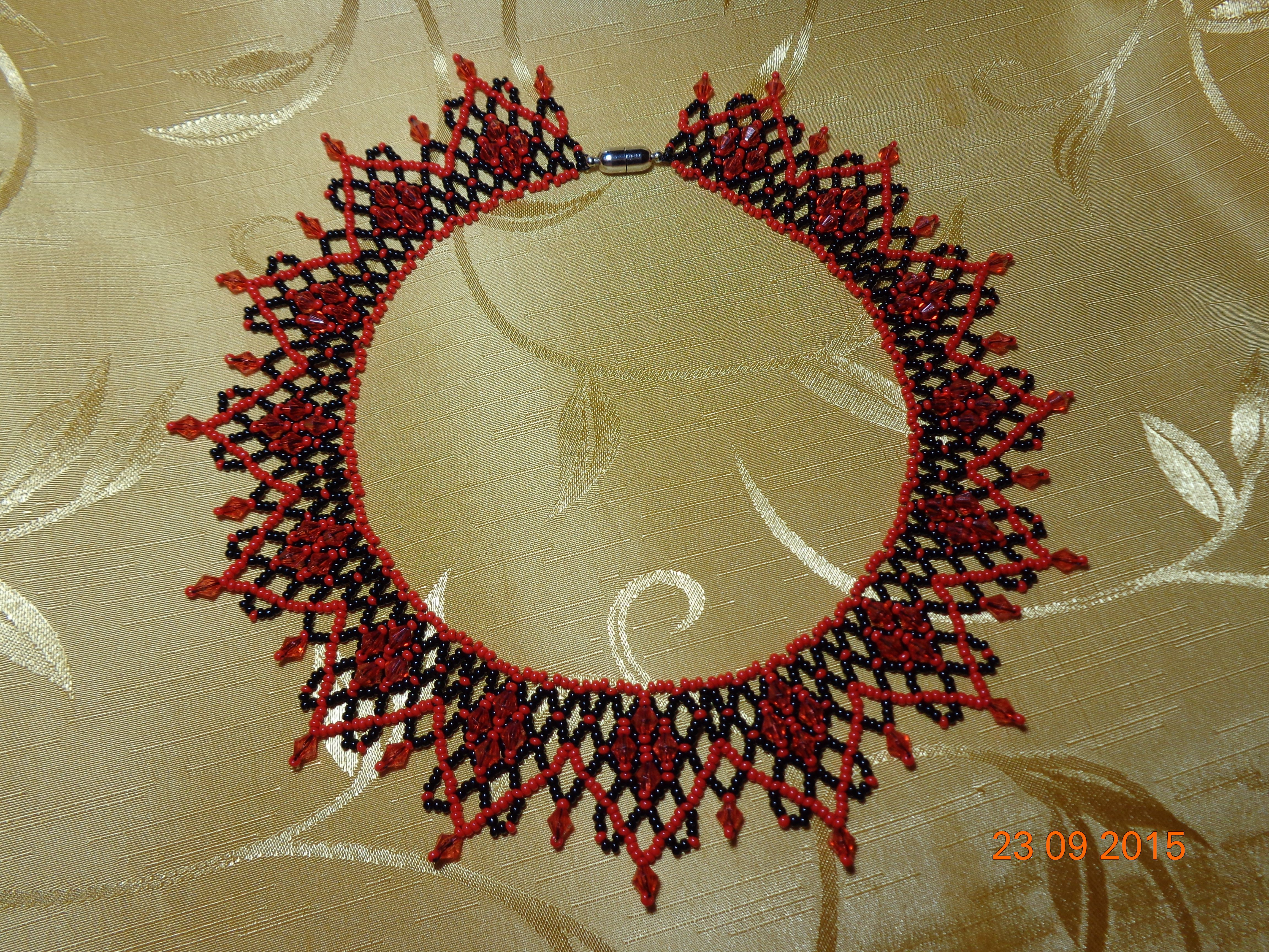 collar beads necklace czech red
