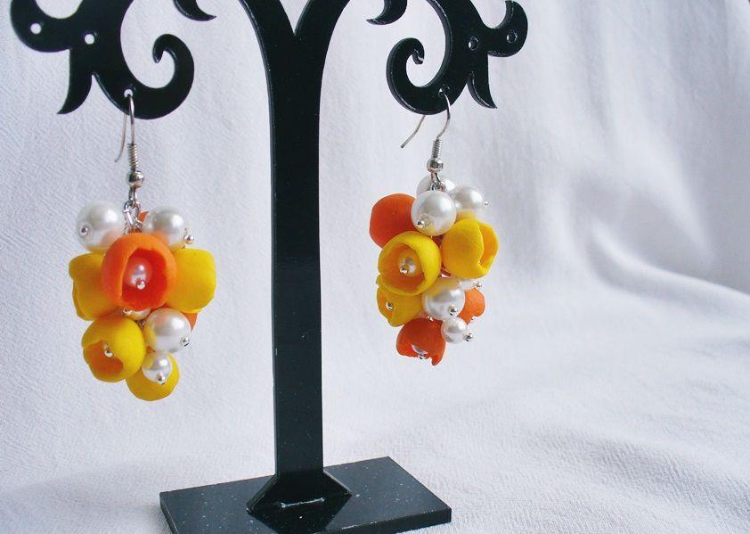 summer earrings clay orange jewelry